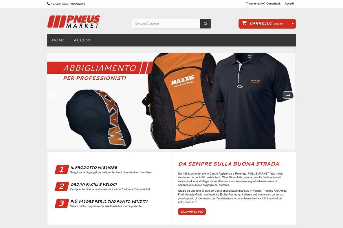 sito e-commerce pneus market home page