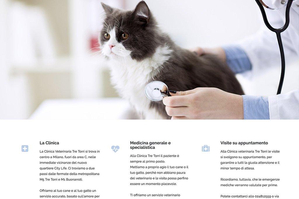 Sito web clinica veterinaria tre torri home page