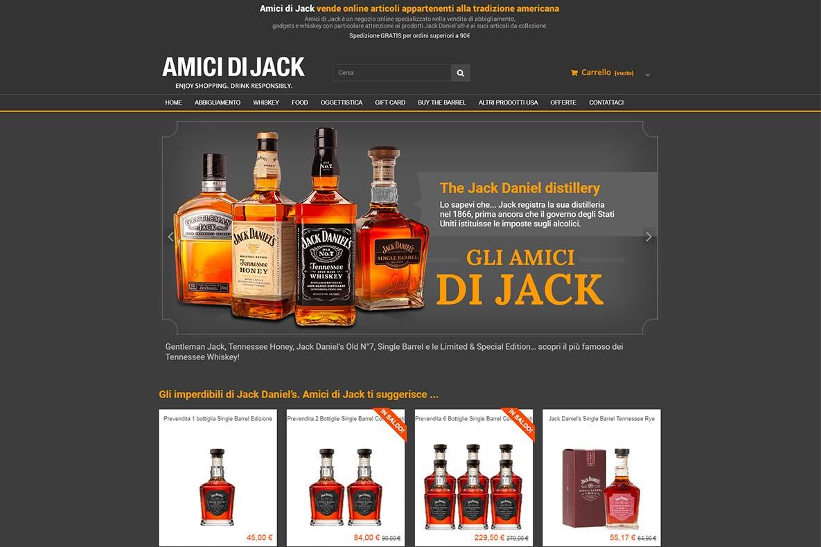 Sito eCommerce amici di jack home page