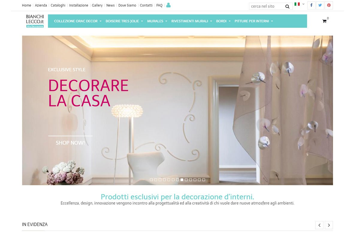 Sito eCommerce bianchi lecco home page