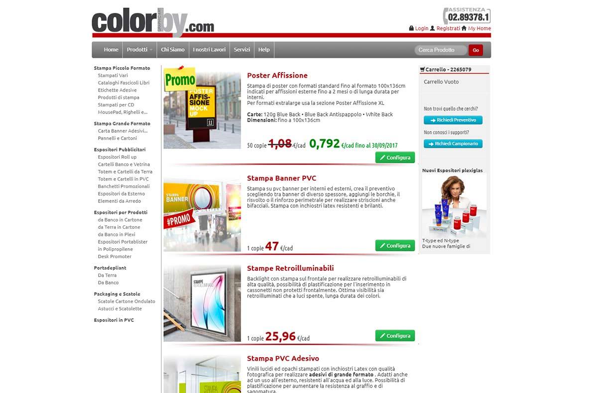 Sito eCommerce Colorby promozioni