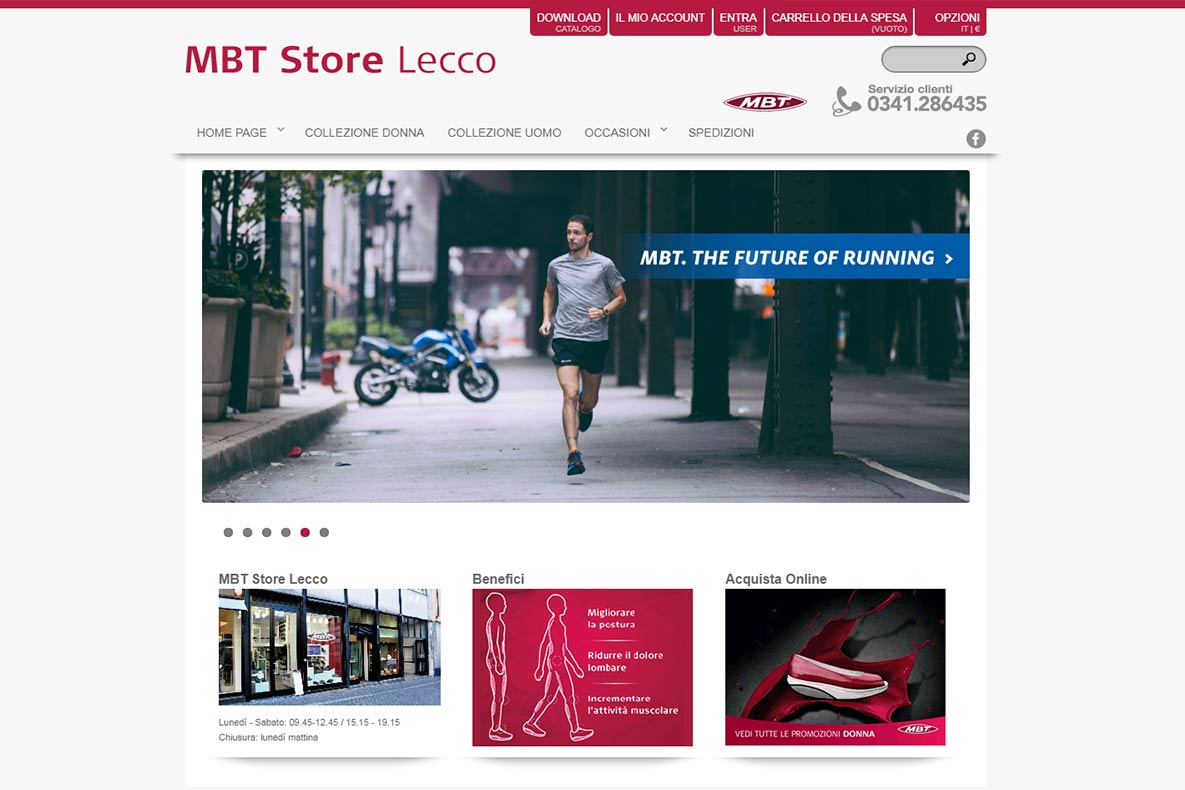 Sito eCommerce MBT store lecco home page