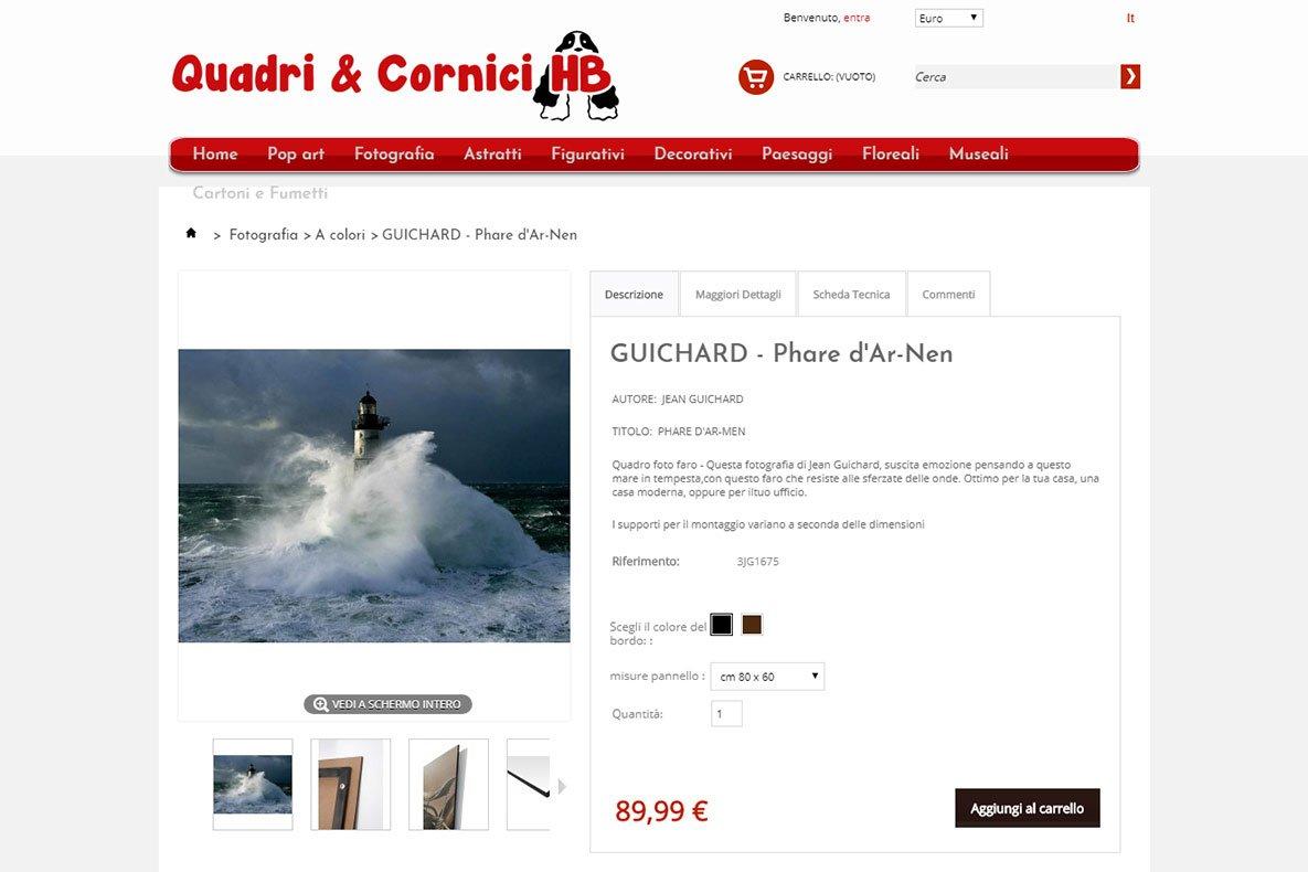 Sito eCommerce quadri e cornici dettaglio prodotto