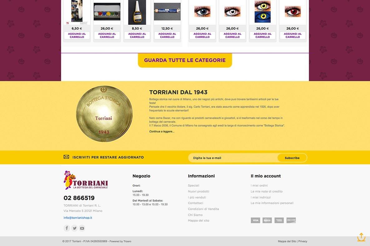 Sito eCommerce Torriani shop dettaglio