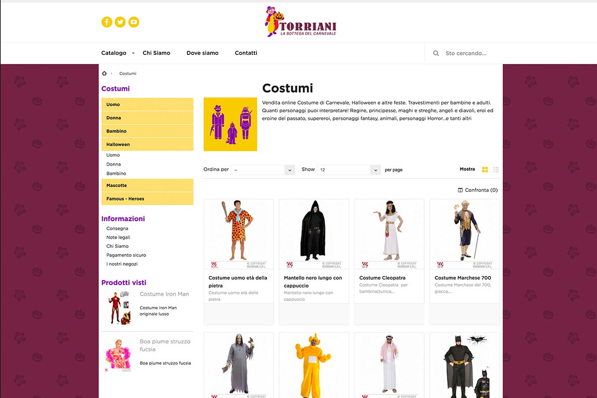 Sito eCommerce Torriani shop i costumi