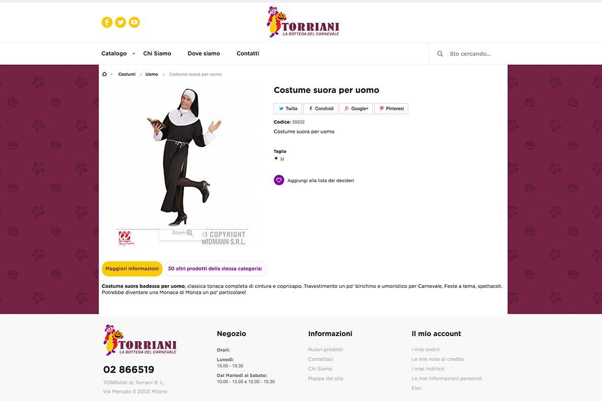Sito eCommerce Torriani shop dettaglio prodotto