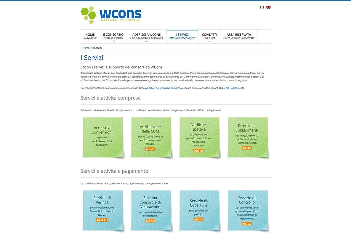 Sito web warranty consortium i servizi