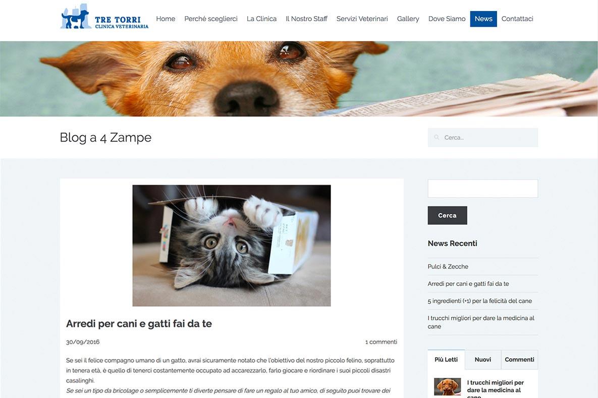 Sito web clinica veterinaria tre torri blog