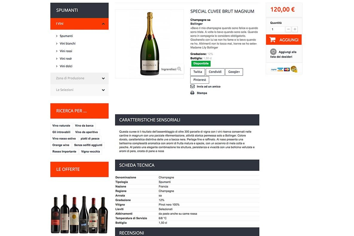 Sito eCommerce wine buy wine categoria prodotto