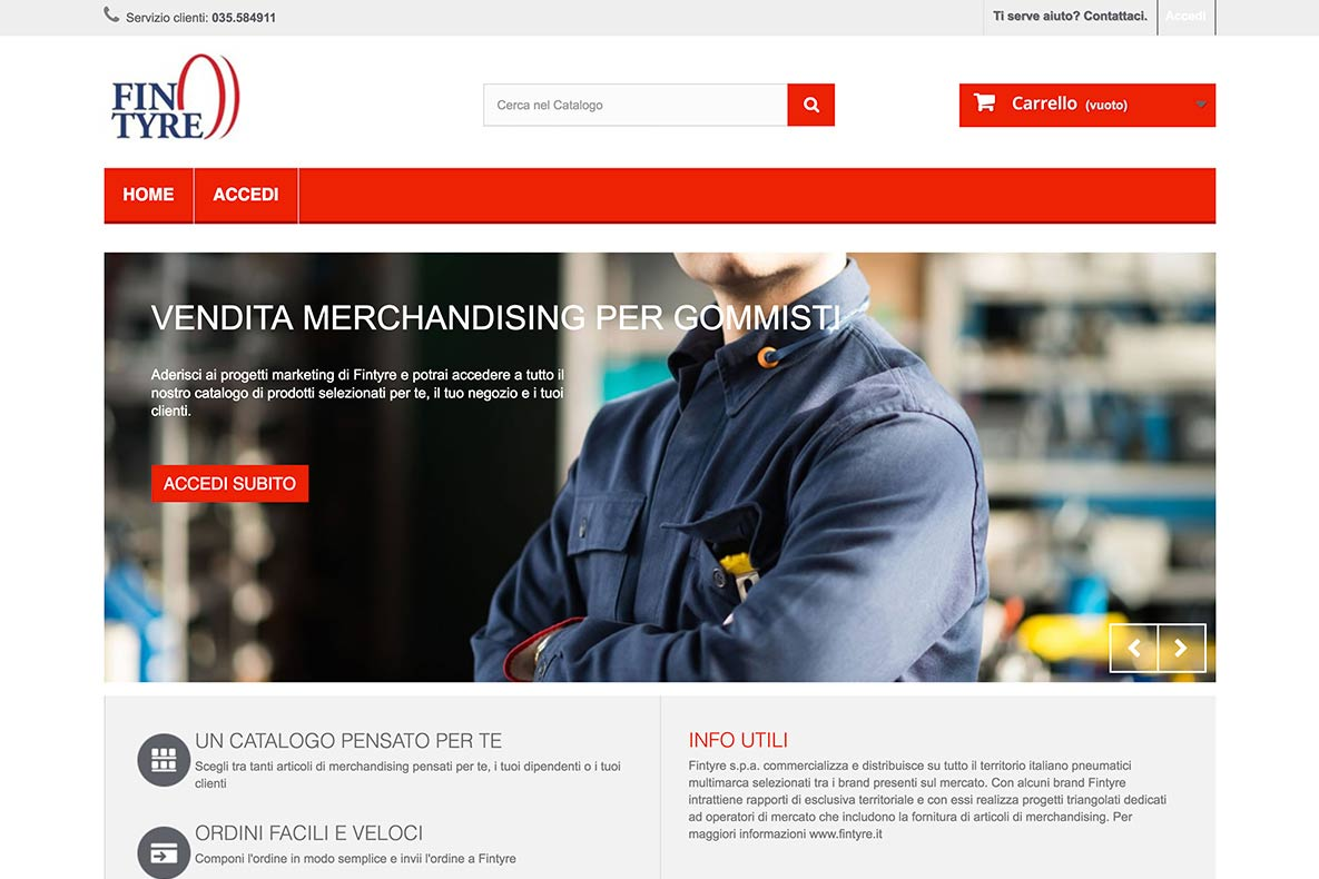 Sito eCommerce Fintyre Merchandising home page