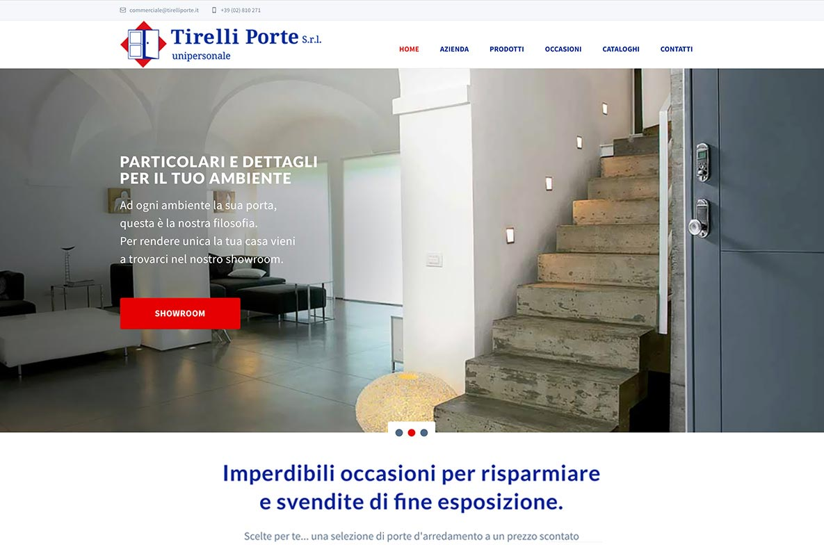 Sito web tirelli porte home page