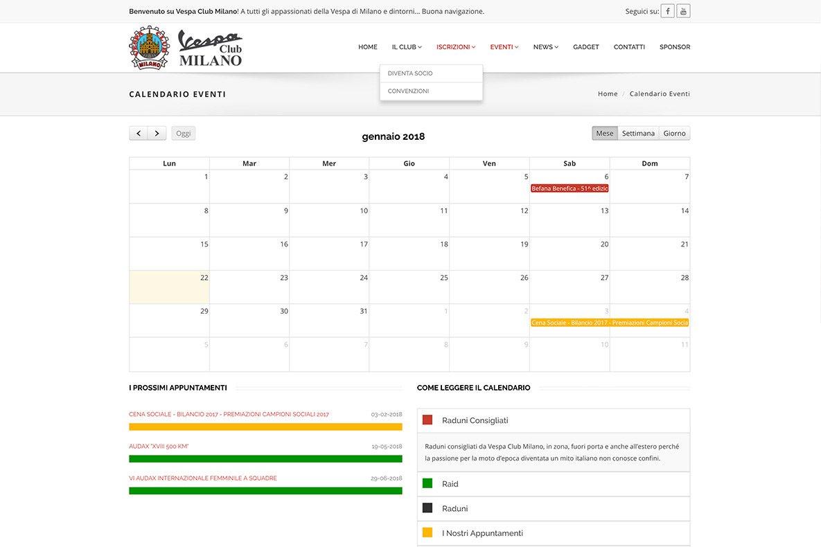 Sito web vespa club il calendario