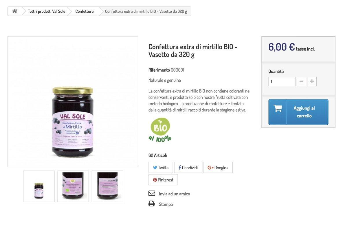 sito e-commerce marmellate biologiche dettaglio prodotto