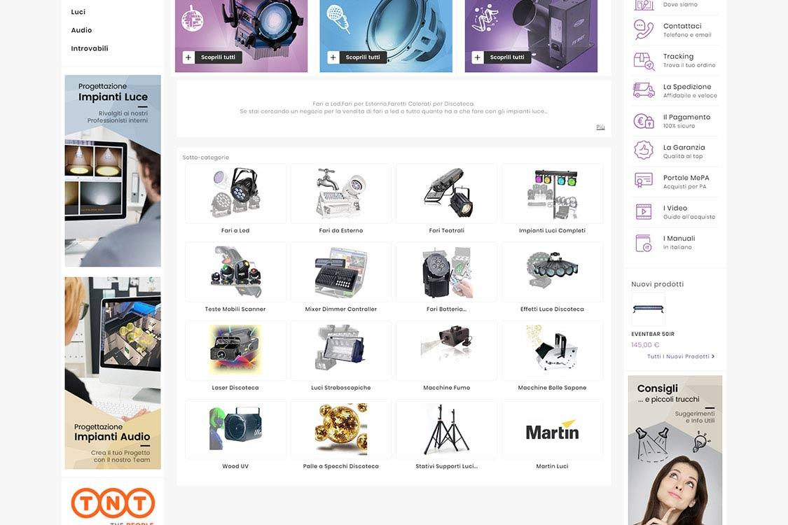 Sito eCommerce per apparecchiatura elettronica audio visiva