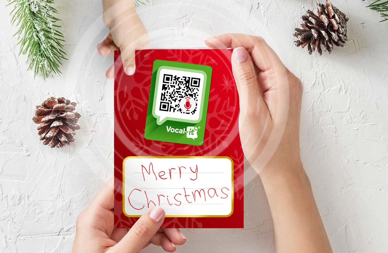 Happy QR Christmas - etichetta con QR ideato da Trizero